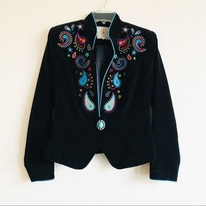 Double D Ranch Velvet Embroidered Jacket Turquoise